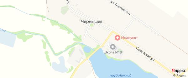 Колхозный переулок на карте хутора Чернышева Адыгеи с номерами домов