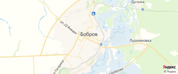 Карта Боброва с районами, улицами и номерами домов