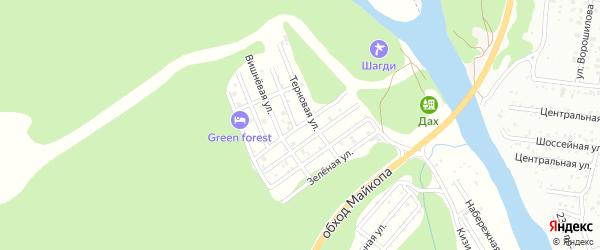 Абрикосовая улица на карте садового некоммерческого товарищества Заречного-2 Адыгеи с номерами домов