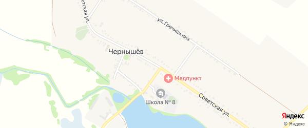 Советская улица на карте хутора Чернышева Адыгеи с номерами домов