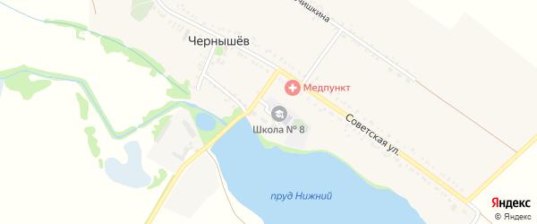 Школьный переулок на карте хутора Чернышева Адыгеи с номерами домов