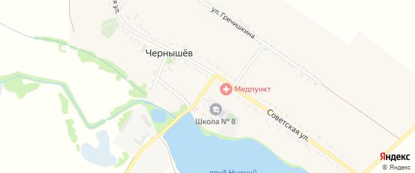 Заречная улица на карте хутора Чернышева Адыгеи с номерами домов