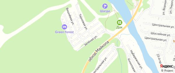 Виноградная улица на карте садового некоммерческого товарищества Заречного-2 Адыгеи с номерами домов
