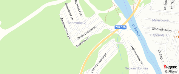 Зеленая улица на карте садового некоммерческого товарищества Заречного-2 Адыгеи с номерами домов