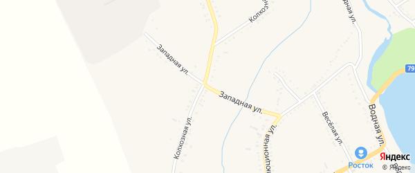 Западная улица на карте Гиагинской станицы Адыгеи с номерами домов