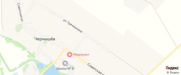 Улица Гречишкина на карте хутора Чернышева Адыгеи с номерами домов