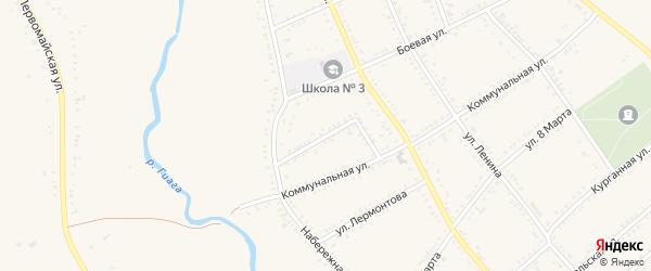 Молодежный переулок на карте Гиагинской станицы Адыгеи с номерами домов
