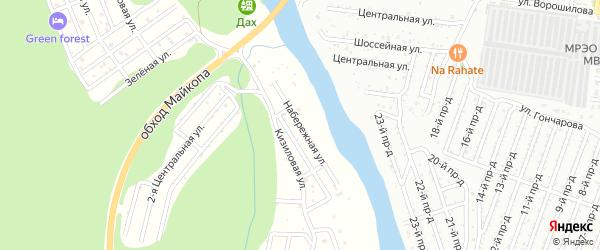 Набережная улица на карте садового некоммерческого товарищества Лесная Поляна Адыгеи с номерами домов