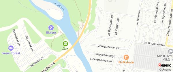 Родниковая улица на карте Майкопа с номерами домов