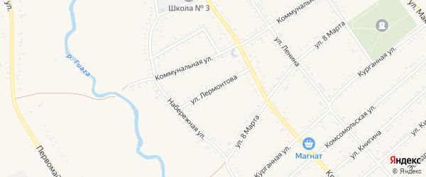 Улица Лермонтова на карте Гиагинской станицы Адыгеи с номерами домов
