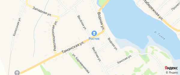 Веселая улица на карте Гиагинской станицы Адыгеи с номерами домов