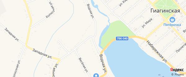 Водная улица на карте Гиагинской станицы Адыгеи с номерами домов