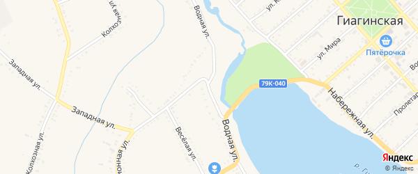 Водная улица на карте Гиагинской станицы с номерами домов