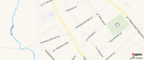 Коммунальная улица на карте Гиагинской станицы Адыгеи с номерами домов