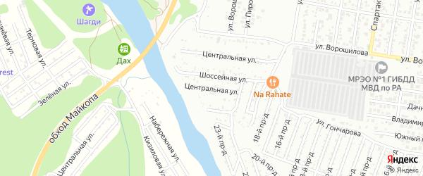 Центральная улица на карте садового некоммерческого товарищества Садовода-3 с номерами домов