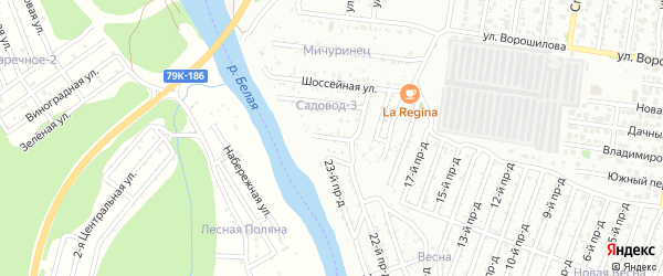 Набережная улица на карте Садовод-3 с номерами домов