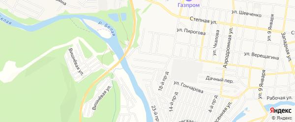 Территория днт Мичуринец на карте Майкопа с номерами домов