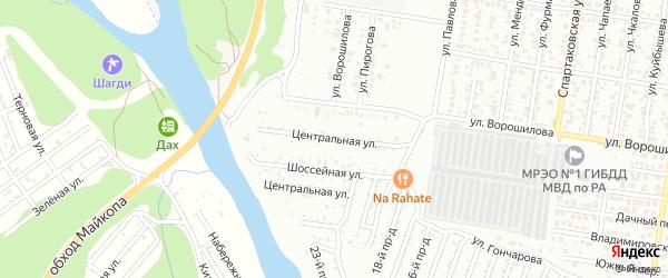 Центральная улица на карте садового некоммерческого товарищества Мичуринца с номерами домов