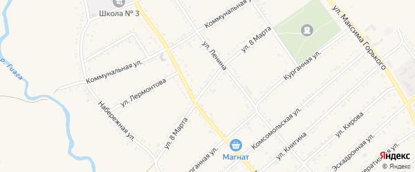 Улица 8 Марта на карте Гиагинской станицы Адыгеи с номерами домов