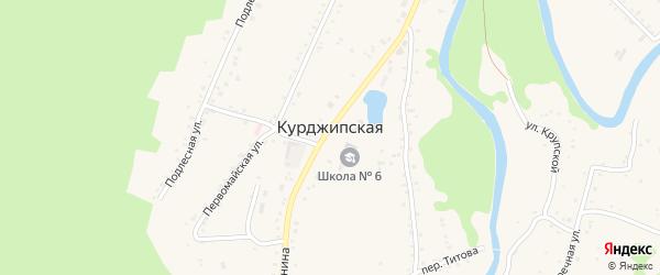 Дорога А/Д Краснооктябрьский-Курджипская-Дагест на карте Курджипской станицы Адыгеи с номерами домов