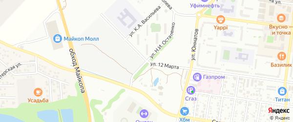 Улица Остапенко Н.И. на карте Майкопа с номерами домов