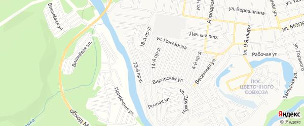 Карта садового некоммерческого товарищества Весны города Майкопа в Адыгее с улицами и номерами домов