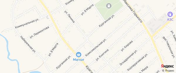 Курганная улица на карте Гиагинской станицы Адыгеи с номерами домов