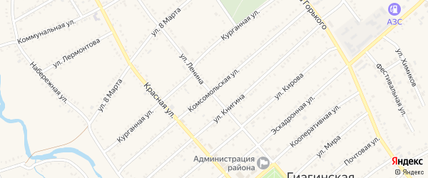 Комсомольская улица на карте Гиагинской станицы Адыгеи с номерами домов