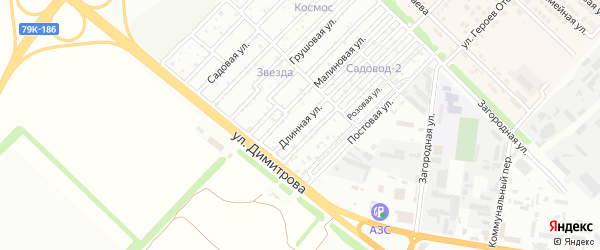 Длинная улица на карте Звезды с номерами домов