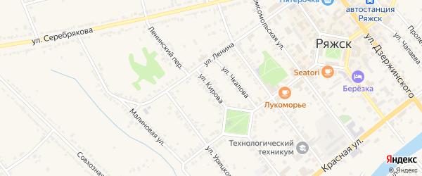 Улица Кирова на карте Ряжска с номерами домов
