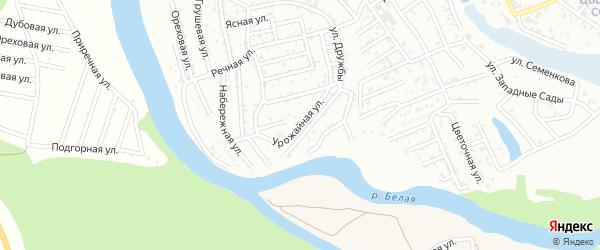 Урожайная улица на карте садового некоммерческого товарищества Ромашки с номерами домов