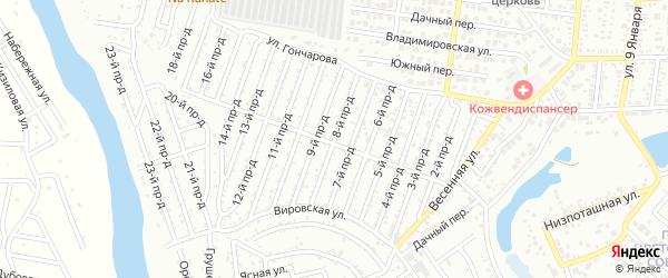 8-й проезд на карте садового некоммерческого товарищества Весны с номерами домов