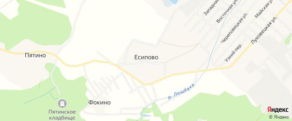 Карта деревни Есипово в Вологодской области с улицами и номерами домов