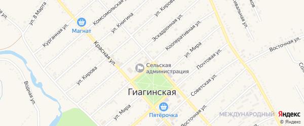 Кооперативная улица на карте Гиагинской станицы Адыгеи с номерами домов
