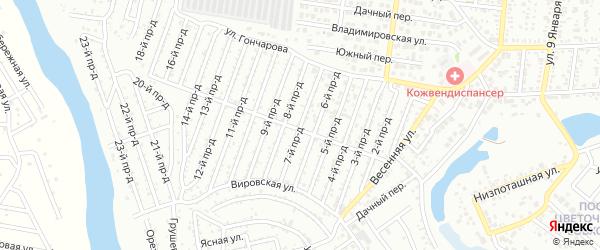 7-й проезд на карте садового некоммерческого товарищества Проектировщика с номерами домов
