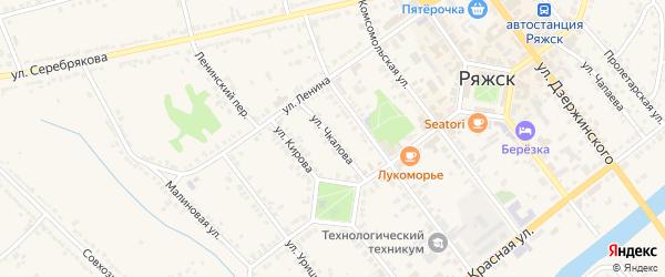 Улица Чкалова на карте Ряжска с номерами домов