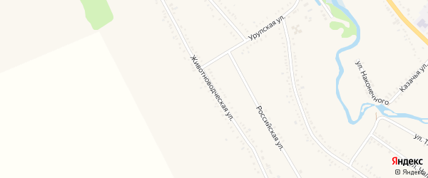Животноводческая улица на карте Гиагинской станицы Адыгеи с номерами домов