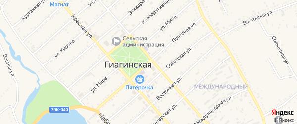 Почтовая улица на карте Гиагинской станицы Адыгеи с номерами домов