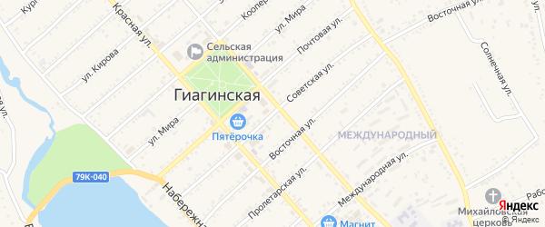 Советская улица на карте Гиагинской станицы Адыгеи с номерами домов