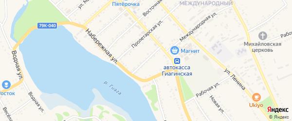Улица Д.Бедного на карте Гиагинской станицы Адыгеи с номерами домов