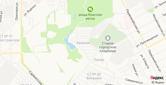 Карта поселка Казачок в Новочеркасске с улицами, домами и почтовыми отделениями со спутника онлайн