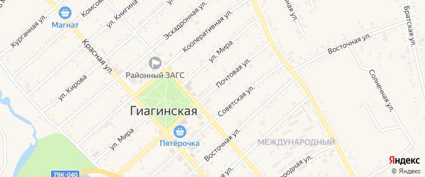 Дорога А/Д Белореченск-Гиагинская-Дружба на карте Гиагинской станицы Адыгеи с номерами домов