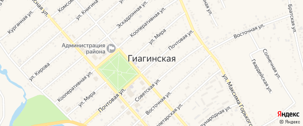 Улица Купина на карте Гиагинской станицы Адыгеи с номерами домов