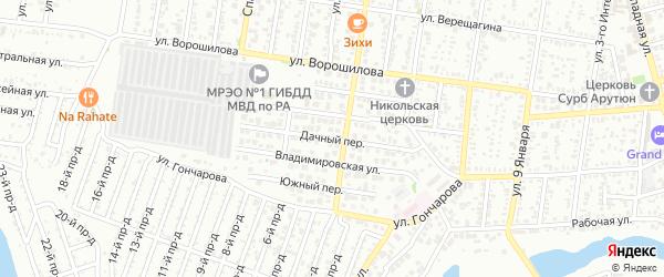 Дачный переулок на карте Майкопа с номерами домов