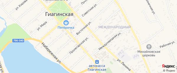 Пролетарская улица на карте Гиагинской станицы Адыгеи с номерами домов