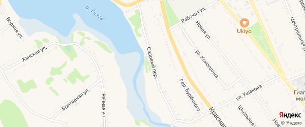 Садовый переулок на карте Гиагинской станицы с номерами домов