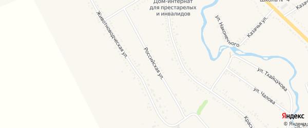 Российская улица на карте Гиагинской станицы Адыгеи с номерами домов