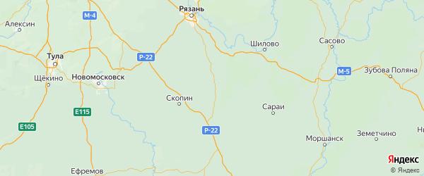 Карта Кораблинский района Рязанской области с городами и населенными пунктами