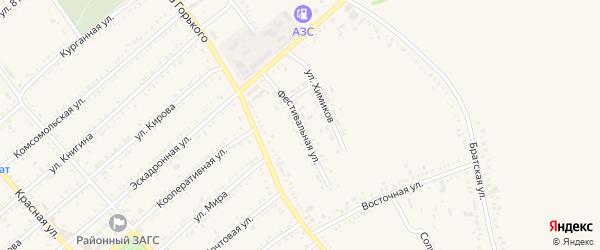 Фестивальная улица на карте Гиагинской станицы Адыгеи с номерами домов