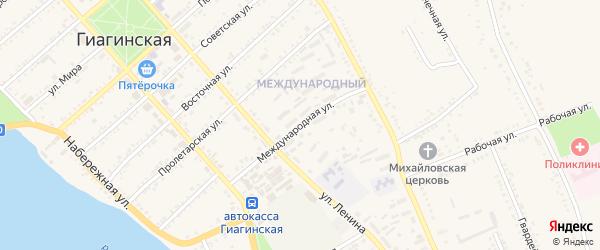 Международная улица на карте Гиагинской станицы Адыгеи с номерами домов
